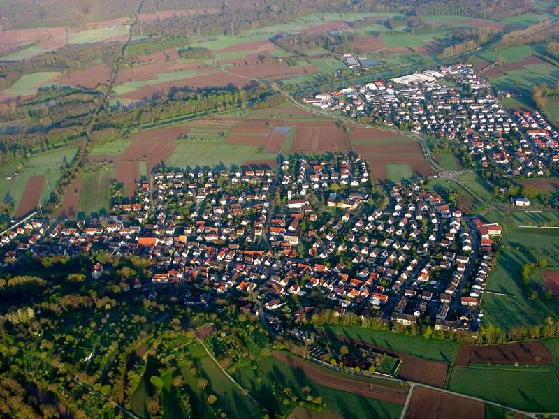 Luftbildaufnahme der Marchgemeinden Hugstetten und Buchheim