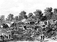 Schwarzweißfoto vom Eisenbahnünglück 1882
