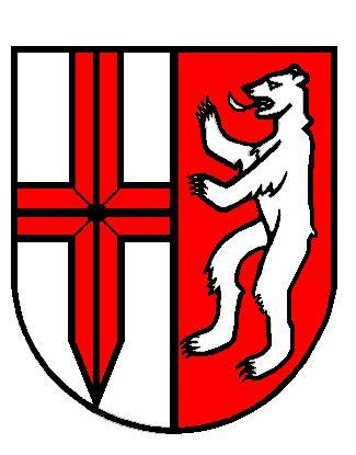 Wappen: rotes Nagelkreuz und silberner Bär