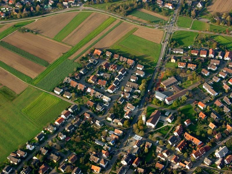 Luftbild von March - Hugstetten und Buchheim oben im Bild