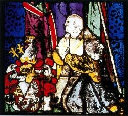 Kirchenfenster mit Gemälde des Hofkanzlers