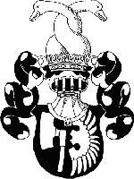 Wappen der Familie von Lichtenfels: Axt und Flügel in Gold auf schwarzem Feld. Helmzier: zwei versch