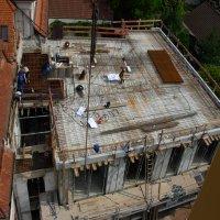Blick vom Kran auf die Obergeschossdecke