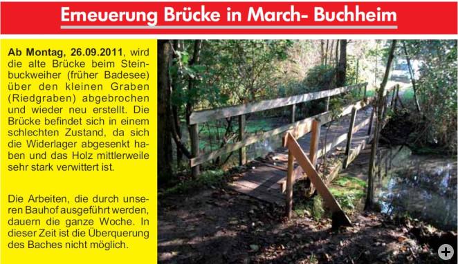 Erneuerung Brücke in March Buchheim