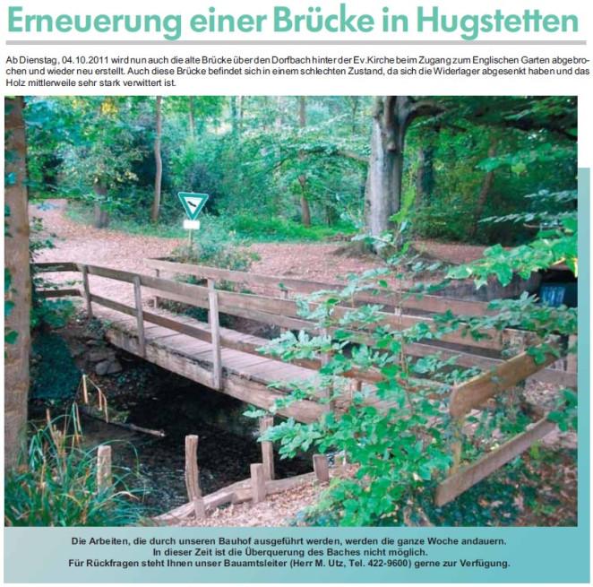 Erneuerung einer Brücke in Hugstetten