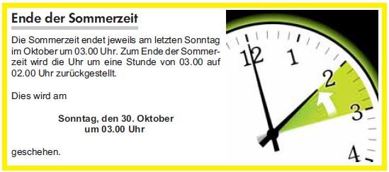 Die Sommerzeit endet am Sonntag, den 30. Oktober um 03:00 Uhr.