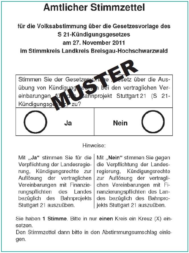 Muster des Stimmzettels für Stuttgart 21