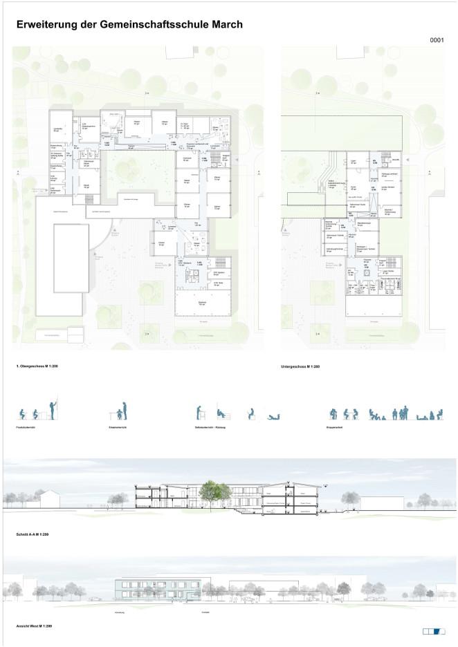 1. Obergeschoss und Ansicht West